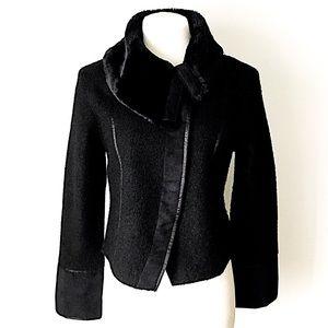 Kenji | Black Wool and Faux Fur Coat